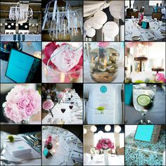 pink and turquoise wedding