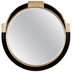 Art Deco Round Mirror With Gilded Detailing In The Style Of Ruhlmann Vintage Mirrors