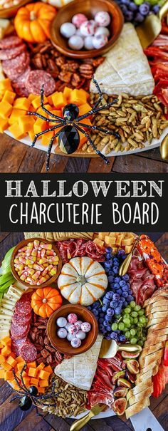 This easy to make Charcuterie Board is perfect for parties, and can be served as a fun dinner or as an easy fall appetizer for a bigger party. Colorful and packed with delicious meats, cheeses and fresh fruit, I included all my best tips for how to make a Halloween Snacks, Entree Halloween, Hallowen Food, Halloween Recipe, Halloween Office, Healthy Halloween, Halloween Decorations, Women Halloween, Halloween Dinner Parties