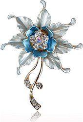 Květina Leaf Crystal drahokamu smalt Charm Pin brož Kytice