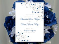 "Fold Over Wedding Program Template ""Flourishing Hearts"" True Blue Silver Program Order of Service - Half Fold Program Printable Download by PaintTheDayDesigns on Etsy"