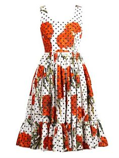 Carnation and polka-dot print dress   Dolce & Gabbana   MATCHE...
