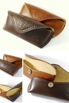 Sunglasses leather case handmade basketweave stamped brown