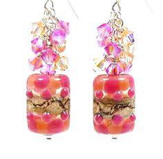 Pink Lampwork Earrings Pink Glass Earrings Pink by BeadzandMore, $38.00