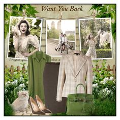 """Want you back"" by redflowergirl ❤ liked on Polyvore featuring Post-It, Wren, Donna Karan, Ralph Lauren, Manolo Blahnik and Hermès"