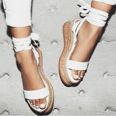 Summer Black Wedge Sandals Women Espadrilles Open Toe Gladiator Sandals Women Casual Lace Up Women Flat Platform Sandals White Wedges, Lace Up Wedges, Lace Up Shoes, Cute Shoes, Women's Shoes, Me Too Shoes, Shoe Boots, White Sandals, White Espadrilles
