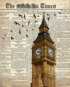 Big Ben and birds on newspaper. London. Wall door truecolorprints