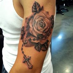 i like the style of the rose in this placement sucks tho Piercing Tattoo, Roseary Tattoo, Cover Tattoo, Tattoo Shop, Great Tattoos, Body Art Tattoos, Sleeve Tattoos, Tattoos For Women, Tattoos For Guys