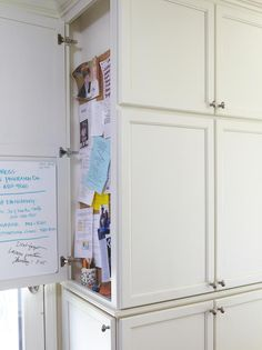 built-in cabinetry holding household files, charging stations and cleaning tools. Well-organized drawers corral the takeout menus and school communications that fill family life Kitchen Desk Organization, Kitchen Desks, Organization Station, School Organization, Kitchen Reno, Kitchen Storage, Kitchen Message Center, Kitchen Remodel Pictures, Smart Storage