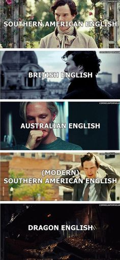 The many dialects of English which Benedict Cumberbatch has perfected in his work.