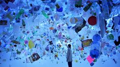 In our Plastic Ocean exhibit, more than 20,000 plastic waste collected hang motionless in the stillness of the space. The installation reflects an ocean that is highly cluttered with plastic that takes 1,000 years to degrade. If we humans have already produced more plastic within the past ten years than the whole of the last century, will this plastic ocean be a micromicrocosm of the future state of our waters? – Installation by Tan Zi Xi , MessyMsxi