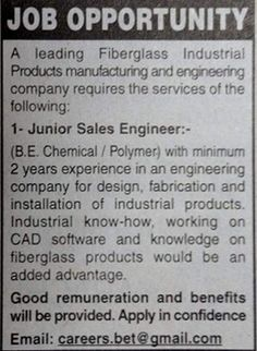 Junioe Sales Engineer Jobs Fiberglass Industry Engineering Company Cad Software, Engineering, Knowledge, Industrial, Industrial Music, Technology, Facts