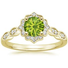 European Engagement Ring - Round Cut Peridot Swing Halo Diamond... ($1,195) ❤ liked on Polyvore featuring jewelry, rings, round diamond ring, vintage style engagement rings, gold wedding rings, diamond wedding rings and peridot engagement rings