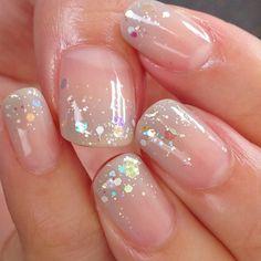 ❄OPtion 3. Clear Nail Polish, Iridescent Glitter + White Hex