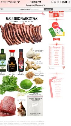 Crockpot Flank Steak Recipes, Grilling Recipes, Cilantro, Dressings, Sauces, Beef, Fresh, Food, Meat