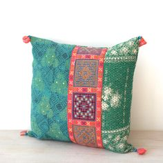 kantha cushion with hmong detail, hmong cushion, kantha pillow case, ooak on Etsy, $73.00