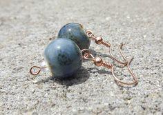 Large blue speckled bead earrings