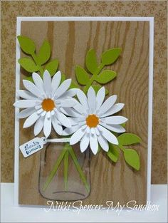 handmade card from My Sandbox ... woodgrain background ... die cut layered daisies ... luv the acetate stamped and cut out for the clear mason jar vase ... Stampin' Up!