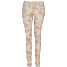 Cream Floral Super Skinny Jeans ($38) ❤ liked on Polyvore