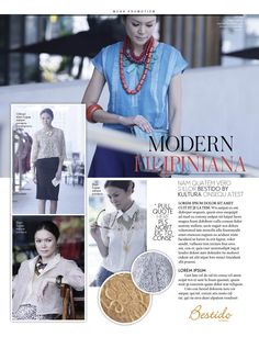 Blue pinasilk top; cut work embroidered jacket; silk barong; linen blouse with embroidered lace
