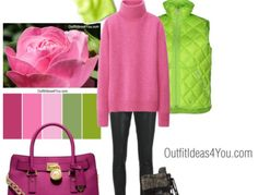 Casual Winter Outfit - Deep Winter Color Palette - Pink, Green