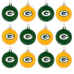 Green Bay Packers NFL 12 Pack Plastic Ball Ornament Set