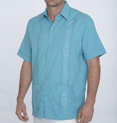 Guayabera shirts for island wedding attire   Turquoise destination wedding shirt   More colors available.