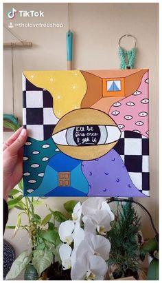 Easy Canvas Art, Simple Canvas Paintings, Small Canvas Art, Cute Paintings, Mini Canvas Art, College Canvas Paintings, Disney Canvas Art, Wall Paintings, Diy Canvas