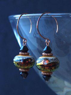 planet earrings Venus planet earrings glass by HandmadeEarringsUk