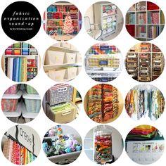 Round up of fabric organization ideas.