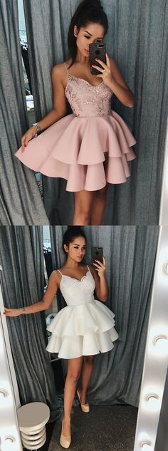A-Line Spaghetti Straps Short Pink Tiered Homecoming Dress with Sequins Party Dress - Prom Dresses Design Hoco Dresses, Event Dresses, Homecoming Dresses, Sexy Dresses, Cute Dresses, Beautiful Dresses, Fashion Dresses, Formal Dresses, Pageant Dresses