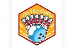 Color vintage bowling emblem  @creativework247