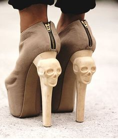 Skull heels……..ONLY WEAR WHEN YOU VISIT THE CEMETERY TO VISIT YOUR DEAR OLD UNCLE HARRY….BE SURE TO PUT A PENNY ON HIS TOMBSTONE…………..ccp