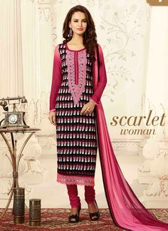 Be your own design and style icon with multi colour chanderi churidar salwar suit. The attractive embroidered and resham work a significant element of this dress. Comes with matching bottom and dupatt...