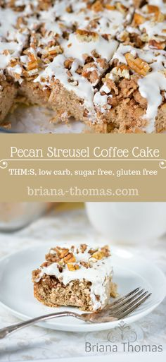 This healthy Pecan Streusel Coffee Cake is THM:S, low carb, sugar free, and gluten free Low Carb Deserts, Low Carb Sweets, Healthy Sweets, Healthy Snacks, Latte Art, Sugar Free Recipes, Low Carb Recipes, Vegan Recipes, Streusel Coffee Cake