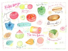 Japanese sweets Kitchen art Watercolor food by lucileskitchen, $65.00