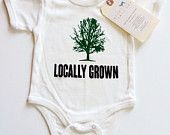 SALE | Locally Grown Tree Baby, Boy, Girl, Unisex, Infant, Toddler, Newborn, Organic, Fair Trade, Bodysuit, Outfit, One Piece, Onesie