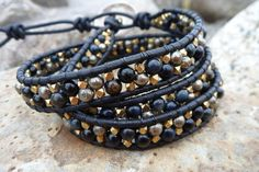 Tigers Eye and Pyrite.  Wrapped bracelet with double stones.