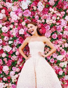 Flower wall + a blush gown! Natalie Portman for Miss DIOR campaign 2015 Wedding Trends, Wedding 2015, Dream Wedding, Wedding Day, Wedding Blessing, Wedding Pics, Spring Wedding, Flower Wall Backdrop, Wall Backdrops