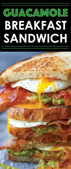 Guacamole Breakfast Sandwich -You've got to be Kidding! This is the absolute must-have breakfast sandwich. Crispy, buttery bread with eggs, bacon, guacamole and melted cheese! Breakfast Desayunos, Breakfast Dishes, Breakfast Recipes, Breakfast Sandwiches, Breakfast Ideas, Breakfast Quesadilla, Avocado Breakfast, Breakfast Healthy, Breakfast Smoothies