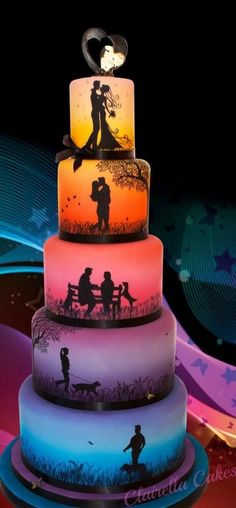 Love Story Wedding Cake CI 2014 - Cake by Clairella Cakes OURs might be more like two children playing catch, two older children singing, some archery, us closing in on eachother, then the top.Love Story Wedding Cake - Entry for London Cake Internati Pretty Cakes, Cute Cakes, Beautiful Cakes, Simply Beautiful, Crazy Cakes, Fancy Cakes, Amazing Wedding Cakes, Amazing Cakes, Cake Cookies