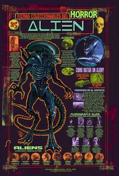 """Fichas infográfica homenaje de la saga """"Alien"""". Dibujos y diseños mios."""
