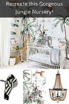 Create your own gorgeous jungle themed nursery for your little one. Contains product links! Jungle Theme Nursery, Nursery Themes, Girl Nursery, Themed Nursery, Nursery Ideas, Boys Jungle Bedroom, Nursery Decor, Jungle Room, Nursery Design
