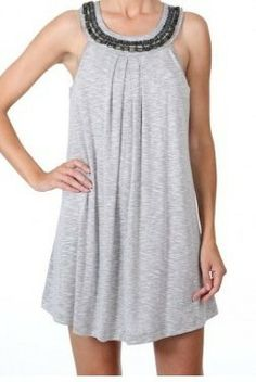 747671208a467 Dotti Swimwear Cover Up Women's First Resort U-Neck Dress. Grey first  resort cover up. Grey colored pull over swim suit cover up tank dress, ...