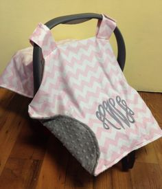 Baby infant carrier canopy car seat minky by CustomThreadsShop, $45.00