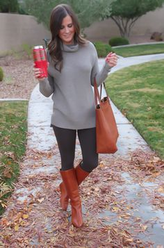 Toggery Leggings, Brown Turtleneck Sweater, Cognac Boots and Tote, Old Navy, Loeffler Randall, Madewell 19