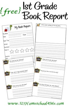 Free! Printable 1st Grade Book Report from www.123homeschool4me.com. (also adaptable for older grades)