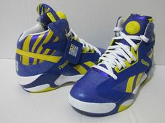 "REEBOK SHAQ ATTAQ ""PUMP"" Men's Basketball Shoes M40343 PURPLE/YELLOW/WHITE #Reebok #BasketballShoes"