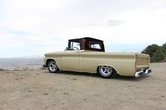 Old school vibe on this two-tone truck. Digging the Supremes on thin whitewalls. 1966 Chevy Truck, Classic Chevy Trucks, Chevrolet Trucks, 1957 Chevrolet, Chevrolet Impala, Lowrider Trucks, C10 Trucks, Custom Pickup Trucks, Old Pickup Trucks