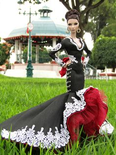 I know it's just a doll dress but dang! I would wear it in real life! Mexican Fashion, Mexican Outfit, Mexican Dresses, Barbie Gowns, Barbie Dress, Barbie Clothes, Quince Dresses, 15 Dresses, Mariachi Wedding